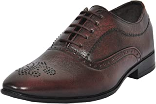 Zoom Men's Handcrafted Classic Modern Genuine Leather LACE UP Brogue Dress Shoes for Business Formal