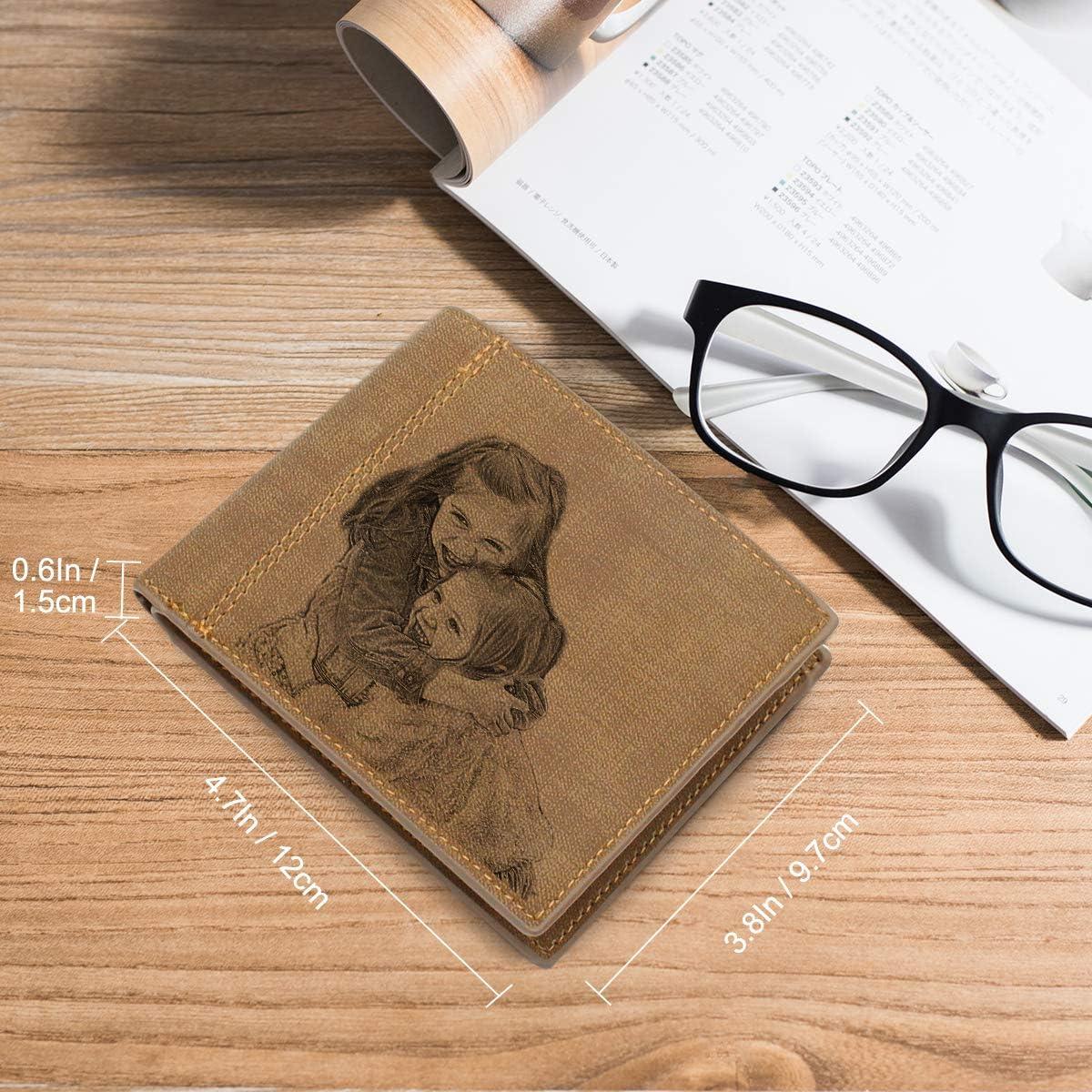 Portefeuille photo personnalisable pour homme 3 volets grav/és cadeaux de No/ël personnalis/és pour lui//maris//papa//fils