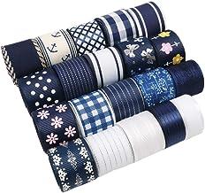 "David Angie 20 Yard Grosgrain Satin Organza Fabric Ribbon Set 5/8"" or 1"" Inch Navy Blue White Fabric Ribbon Assortment for..."