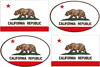 Wheezeway California Flag Sticker (Flag 3X5) California Republic Stickers ( Oval 5 x 3.25 ) 4 Pack Cali Bear Bumper Window Auto Car Jeep Truck RV