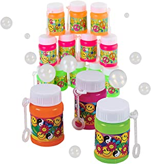 Kicko Mini Plastic '60s Bubble Bottles 2 Inches - 12 Pack - Assorted Colors Bottles 1 Oz. with Foldable Wands - Smile and ...