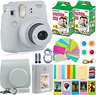 تعداد معاملات یک دوربین Fujifilm Instax Mini 9 با فیلم فوجی فوری (40 برگه) و بسته های لوازم جانبی شامل موارد ، آلبوم ، لنزهای سلفی و موارد دیگر