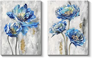 Blue Flower Artwork Canvas Picture: Floral Painting Bloom Wall Art Print on Canvas for Dining Room 24''x18''x2Panels
