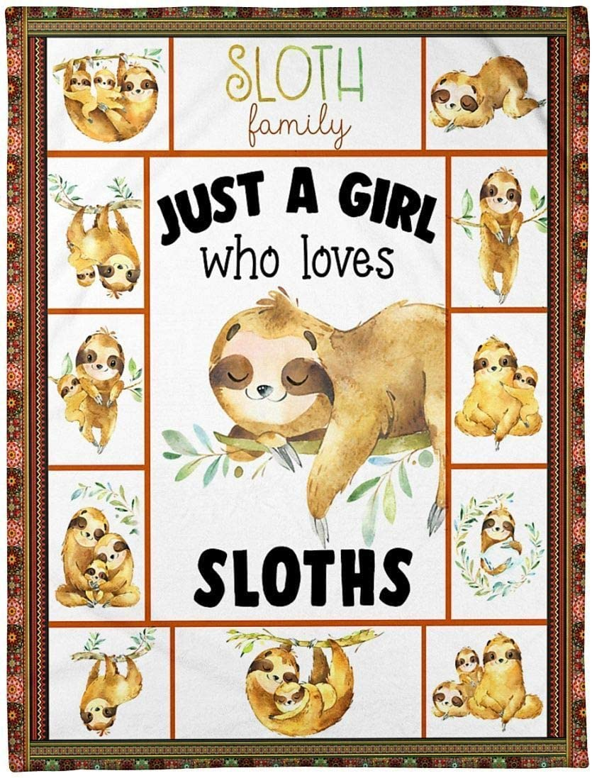 OFFer Sloth Family Just A Girl Wholesale Who Loves Fleece Sloths Blanket Great C