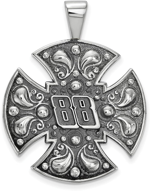 Beautiful Sterling silver 925 sterling Sterlingsilver SS Antiqued LogoArt NASCAR  88 Alex Bowman Large Cross Pendant