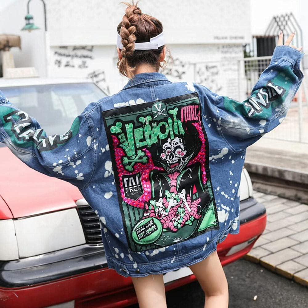 HNJing Student Jacket Graffiti Sequined Denim Women's Jacket Large Size Loose Large Size Street Trend Style Series Jacket
