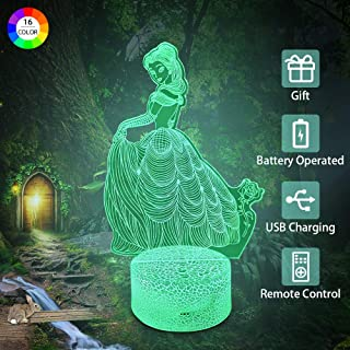 Flow.month Princess Night Light for Girls Birthday Gift 16 Colors Dimmable Nightlight Remote Control LED Light Kids Room Decor Lighting 3D Optical Illusion Night Lighting Lamp for Children