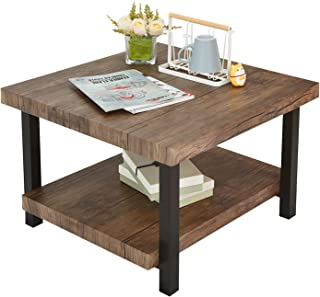 Furniture Rectangular Coffee Table with Storage Underframe Suitable for Living Room Easy Assembly Center Table Rural Brown Style Tea Table 2.0 Inch Thick Environmental P2 MDF Table Top Dark Coffee