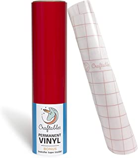 Craftables Red Vinyl Roll - Permanent, Adhesive, Glossy & Waterproof   12
