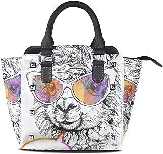 Cute Purple Dragonfly Women's Genuine Leather Handbag Rivet Shoulder Satchel Tote Bag Crossbody Bags