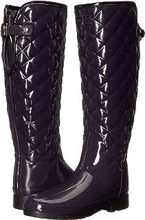 Hunter Womens Refined Gloss Quilt Tall Rain Boots
