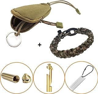 BSGB 5PCS Outdoor Multifunction Keychain Survival Kit | EDC Portable Key Pouch Holder|Solid Brass Pill Fob | Brass Whistle Keychain & Beer Bottle Opener |Pocket Diamond Stone Nife Sharpener