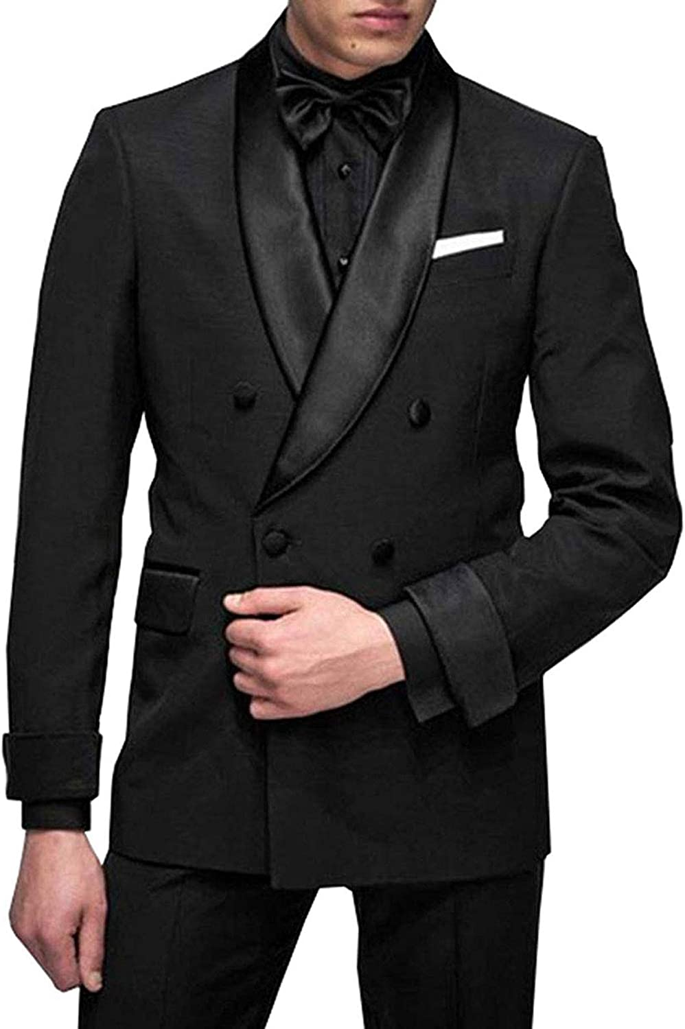 RONGKIM Men's Fashion 2 Pieces Suit Double Breasted Slim Fit Tuxedos Blazer Waistcoat