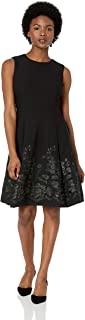 Women's Petite Sleeveless Floral Embroidered Fit and Flare Dress