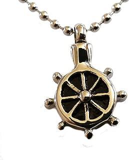 Lauren Annabelle Studio Ship Wheel Sailor Cremation Urn Necklace Stainless Pendant Jewelry Ash Holder