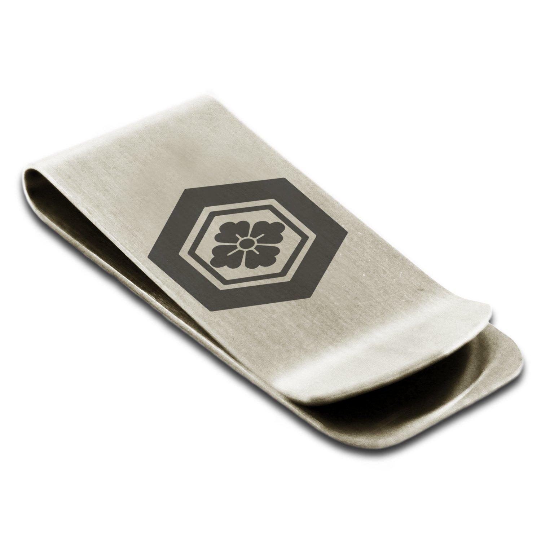 Stainless Steel Matsunaga Samurai Crest Engraved Money Clip Credit Card Holder