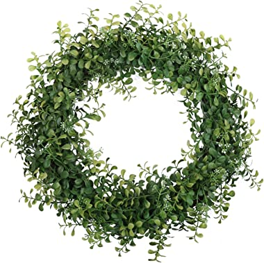 """Pauwer 22"""" Artificial Green Leaves Wreath Farmhouse Boxwood Wreath Indoor Outdoor Wreath for Front Door Wall Window Party Decor"""