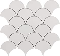 MTO0341 Modern Fan Fish Scale White Gray Glossy Ceramic Mosaic Tile