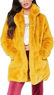 c901d6c26df Remelon Womens Long Sleeve Winter Warm Lapel Fox Faux Fur Coat Jacket  Overcoat Outwear with Pockets