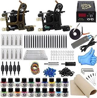 ITATOO Complete Tattoo Kit for Beginners Tattoo Power Supply Kit 20 Tattoo Inks 50 Tattoo Needles 2 Pro Tattoo Machine Kit Tattoo Gun Kit TK1000013