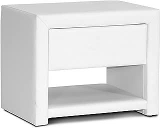 Baxton Studio Massey Upholstered Modern Nightstand, White