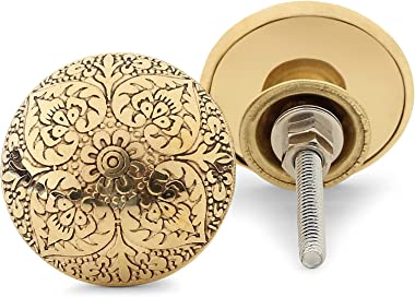 Set of 6 Antique Cabinet Knobs with Extra Bolts | Brass Vintage Pulls with Reversible Metal Backplate | Handmade Furniture Ha