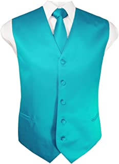 Guytalk Mens Solid Tuxedo Vest Necktie and Handkerchief Set(30 Colors, XS-4XL)