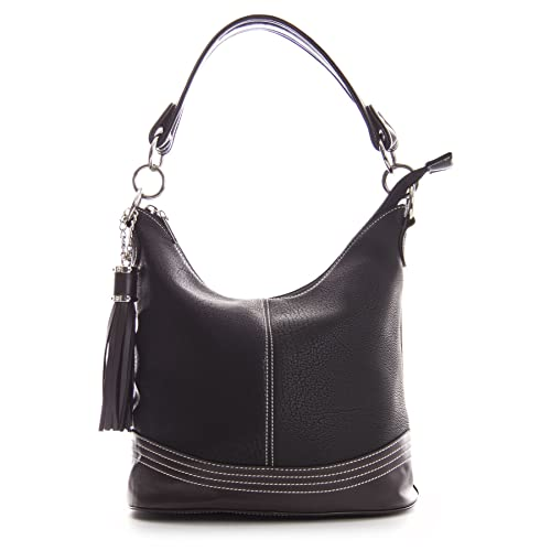 89e0347ea5 Big Handbag Shop Womens Designer Top Handle Bucket Shape Contrast Trim  Shoulder Satchel Bag - Medium