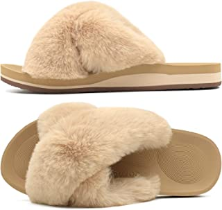 COFACE Womens Fuzzy Slides Fluffy Fax Fur Cross Slippers Open Toe Yoga Mat House Slippers Sandals with Arch Support for In...