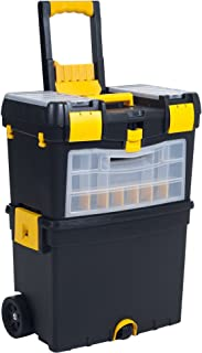 Heavy Duty Rolling Toolbox with Foldable Comfort Handle & Removable Top Storage –Chest & Cabinet Storage Box, Garage Toolbox Organizer