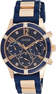 GUESS - W1234L4 - WATCH FOR LADIES ROSE GOLD WITH ENAMEL STAINLESS STEEL - BLUE SILICONE STRAP