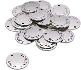 WSSROGY 20 Pcs Round Forever in My Heart Letter Charms Craft Supplies Charms Pendants for Crafting Jewelry Findings Making