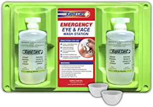 Rapid Care First Aid 8000 Eye Wash Station, FDA Compliant, Wall Mountable, 2 x 16 oz Sterile Isotonic Eye Wash Bottles with 2 Bonus Reusable Eye Cups, 17
