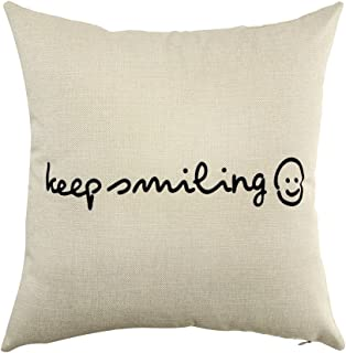 Ogiselestyle Keep Smiling Motivational Sign Inspirational Quote Cotton Linen Home Decorative Throw Pillow Case Cushion Cover for Sofa Couch, 18