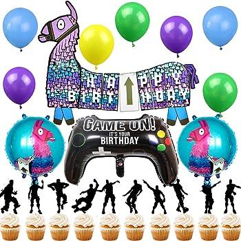 Shine Party Decorations De Fete D Anniversaire Jeu Video Banniere De Joyeux Anniversaire Controleur Video Lama Ballons Cake Toppers Pour Decorations De Fete D Anniversaire Pour Garcon Amazon Fr Jeux Et Jouets
