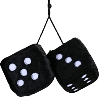 MRCARTOOL Car Fuzzy Dice,3 inch Pair of Retro Square Mirror Hanging Dice, Couple Fuzzy Plush Dice with Dots for Car Interior Ornament Decoration (Black)