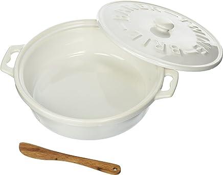 Twine 5997 Rustic Farmhouse Ceramic Brie Baker & Acacia Wood Spreader White