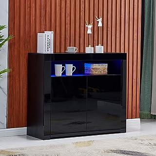 4HOMART High Gloss LED Sideboard Kitchen Storage Cabinet...