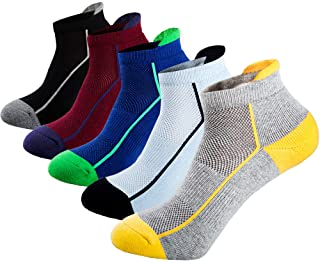Mens Low Cut Ankle Athletic Socks Cotton Mesh Cushioned Running Ventilation Sports Tab Socks (5 pack)