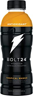 BOLT24, Hydration with Antioxidants and Electrolytes, Tropical Mango, 16.9oz Bottles (Pack of 12)