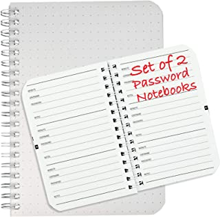 "Password Book with Alphabetical Tabs: Spiral Bound Keeper for Internet Login. Organizer Journal Includes Website Address, Username, Password Pages. Set of 2 books (5""x7"" and 3.5""x5.25"")"