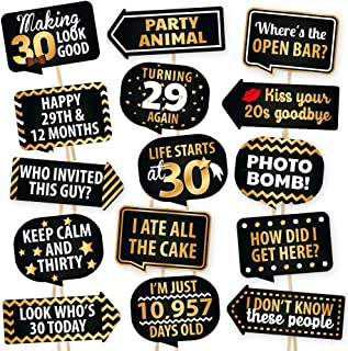 30th Birthday Photo Booth Props By PartyGraphix - European Made Black And Gold Dirty 30 Birthday Decorations - Easy To Ass...