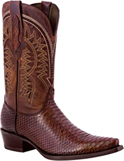 Men's Python Design Leather Cowboy Western Boots Brown Black Sand Chedron Honey