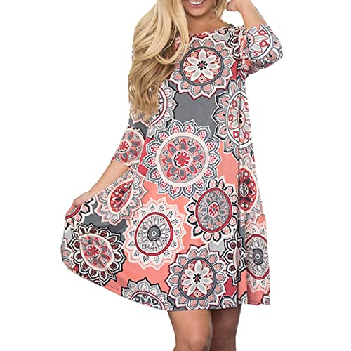 08a7cbac50d8c Defal Women s 3 4 Sleeve Boho Floral Printed Swing Dress Casual Tunic Tops  for Leggings