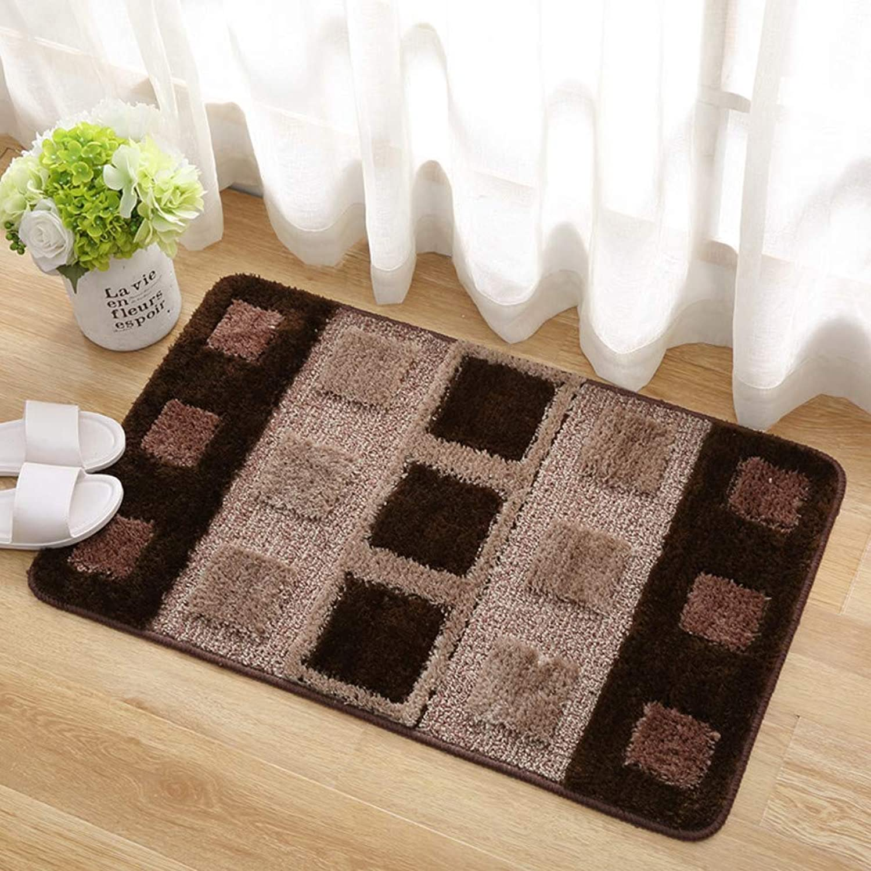 Door mat,Carpet Indoor mats Geometric Pattern Bedroom Rug Kitchen Bathroom Non-Slip mat-Brown 80x120cm(31x47inch)