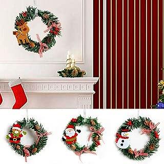Small Wreath 2pcs Deer Santa Snowman Decor Christmas Party PVC Decoration Home Xmas Rattan Decors Art Hanging Ornaments Creative Ring (D: Deer,2PCS)