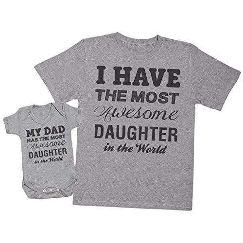 b12efbde878 Most Awesome Daughter - Matching Father Baby Gift Set - Mens T Shirt   Baby  Bodysuit