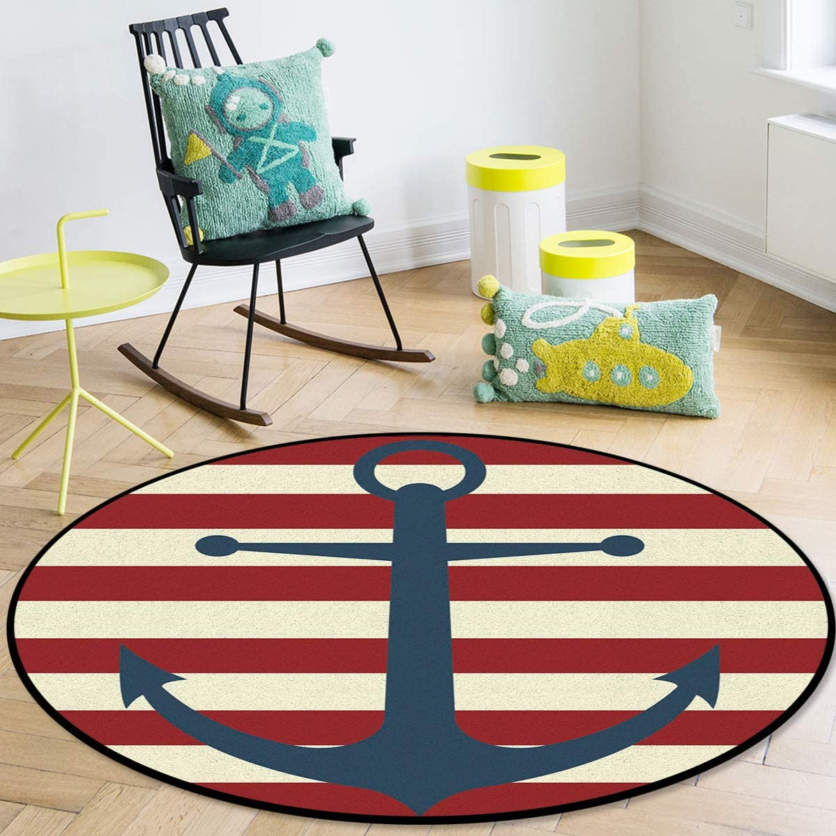OneHoney Round Area Rugs Super sale Ranking integrated 1st place Vintage Anchor In Red Striped Nautical