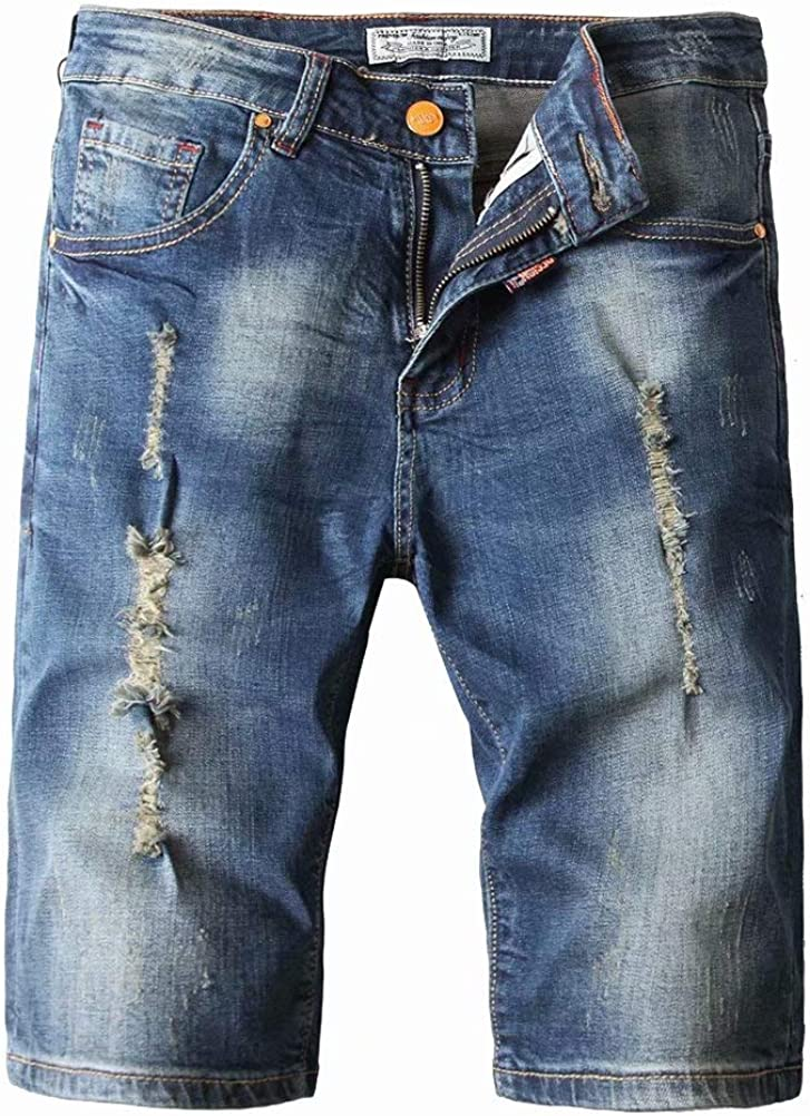 Wxian Men's Hole Slim Straight Fit Jeans Shorts