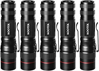 Kootek 5 Pack Super Mini Flashlights LED Waterproof Zoomable Bright Flashlight for Kids Child Outdoor Hiking Biking Camping Cycling Emergency Light (0.83 Inch Wide)